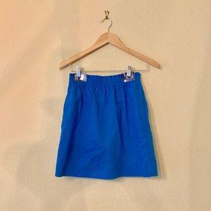 J. Crew Sidewalk Skirt Blue Linen Cotton Size 00